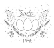 Easter time poster with eggs and branches decoration around in monochrome silhouette. Vector illustration Stock Image