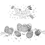Easter time poster with outdoor scene with easter eggs in grass in monochrome silhouette. Vector illustration Royalty Free Stock Images