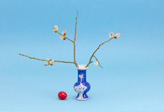 Easter time vase with egg and pussy-willow. Easter time vase with red egg and pussy-willow Stock Images