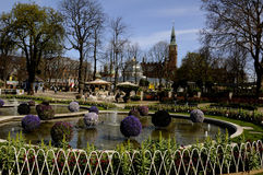 EASTER IN TIVOLI GARDEN FULL WITH EASTER EGGS AND TULIPS Stock Images