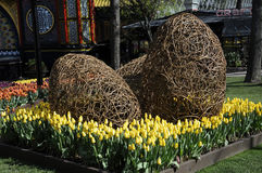 EASTER IN TIVOLI GARDEN FULL WITH EASTER EGGS AND TULIPS Royalty Free Stock Photo