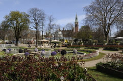 EASTER IN TIVOLI GARDEN FULL WITH EASTER EGGS AND TULIPS Stock Image