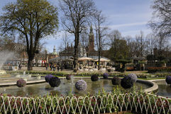 EASTER IN TIVOLI GARDEN FULL WITH EASTER EGGS AND TULIPS Royalty Free Stock Images