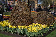 EASTER IN TIVOLI GARDEN FULL WITH EASTER EGGS AND TULIPS Stock Photography