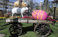 EASTER IN TIVOLI GARDEN FULL WITH EASTER EGGS AND TULIPS Stock Photos
