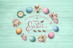 Easter Top View Background. Happy Easter lettering inside decorative frame. Circular border consisting of spring flowers, eggs, feathers, candle on wooden vector illustration