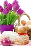 easter tortowi tulipany jagnięcy purpurowi Fotografia Stock