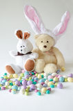 Easter toys bunny and bear Royalty Free Stock Photo
