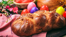 Easter traditional bread on wooden background Stock Photos