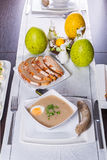 Easter traditional breakfast with white borsch soup. Eggs and sausages royalty free stock photo