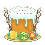 Easter traditional cake and eggs Royalty Free Stock Image