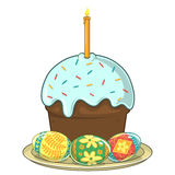 Easter traditional cake and eggs Royalty Free Stock Photos