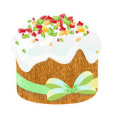 Easter traditional cake and eggs. Design element isolated on white. Eps 10 vector illustration. Stock Images
