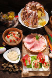 Easter traditional dishes on rural wooden table Royalty Free Stock Image