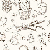Easter traditional doodle symbols seamless pattern Royalty Free Stock Image