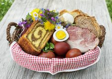 Easter food basket with eggs and ham. Easter traditional food with ham, eggs and bread in basket. Holidays background outdoor Royalty Free Stock Photography