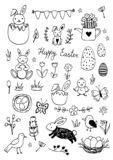 Easter traditional symbols collection - eggs, bunny, willow twigs, basket. Easter traditional symbols collection - eggs, bunny, willow twigs, Vector drawings set royalty free illustration
