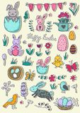 Easter traditional symbols collection - eggs, bunny, willow twigs, basket. Easter traditional symbols collection - eggs, bunny, willow twigs, Vector drawings set vector illustration