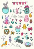 Easter traditional symbols collection - eggs, bunny, willow twigs, basket. Easter traditional symbols collection - eggs, bunny, willow twigs, Vector drawings set stock illustration