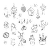 Easter traditional symbols collection - happy easter doodle set. Easter traditional symbols collection - Easter eggs, Easter bunny, willow twigs, Easter basket Stock Images
