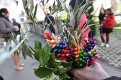 Easter traditions - green and colourful bouquets. Easter traditions - green and colourful bouquets symbolising palm branches Stock Photos