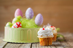 Easter treats, colorful cupcakes Royalty Free Stock Image