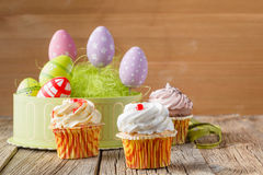 Easter treats, colorful cupcakes Stock Photo