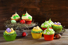 Easter treats, colorful cupcakes Stock Image