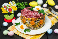 Easter treats: festive salad with beef and carrots Royalty Free Stock Photo