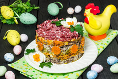 Easter treats: festive salad with beef and carrots Stock Photo
