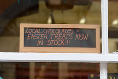 Easter Treats now in stock sign Royalty Free Stock Photo