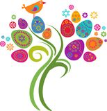 Easter tree. With colored eggs and flowers stock illustration