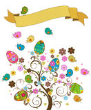 Easter tree. Fantasy easter tree with banner Stock Photo