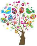 Easter tree. Colorful easter tree with eggs, birds and flowers