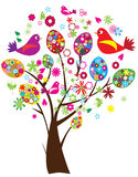 Easter tree. Illustration of easter tree with floral eggs, birds and flowers Royalty Free Stock Photo