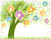 Easter tree. Easter greeting card with tree, eggs and decorativ flowers Royalty Free Stock Image