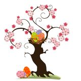 Easter tree. Blossom tree with nest and easter eggs, elements for design Stock Images