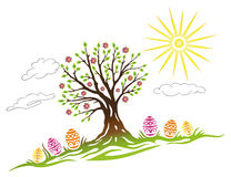 Easter, tree, eggs. Colorful easter illustration, tree with easter eggs Stock Images