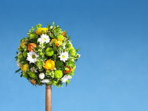 Easter tree flower arrangment. Blue sky and copy space Royalty Free Stock Photos