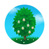 Easter tree greeting card Royalty Free Stock Images