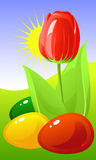 Easter. Tulip and colored eggs Stock Photography