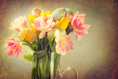 Easter. Tulip flowers bouquet Stock Photo
