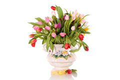 Easter tulips antique vase Royalty Free Stock Image