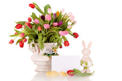 Easter tulips antique vase Stock Image