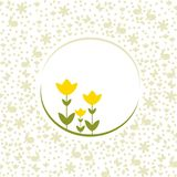 Easter tulips and background pattern. Easter tulips in yellow and a background with various silhouettes. Happy Easter greetings. Clean design Royalty Free Stock Photography