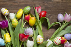 Easter tulips with heart shape and eggs Stock Image