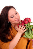 Easter tulips woman. Stock Photography