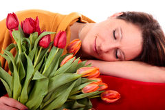 Easter tulips woman. Stock Images