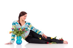 Easter tulips woman. Stock Photo