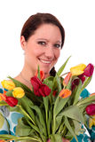 Easter tulips woman. Royalty Free Stock Photos